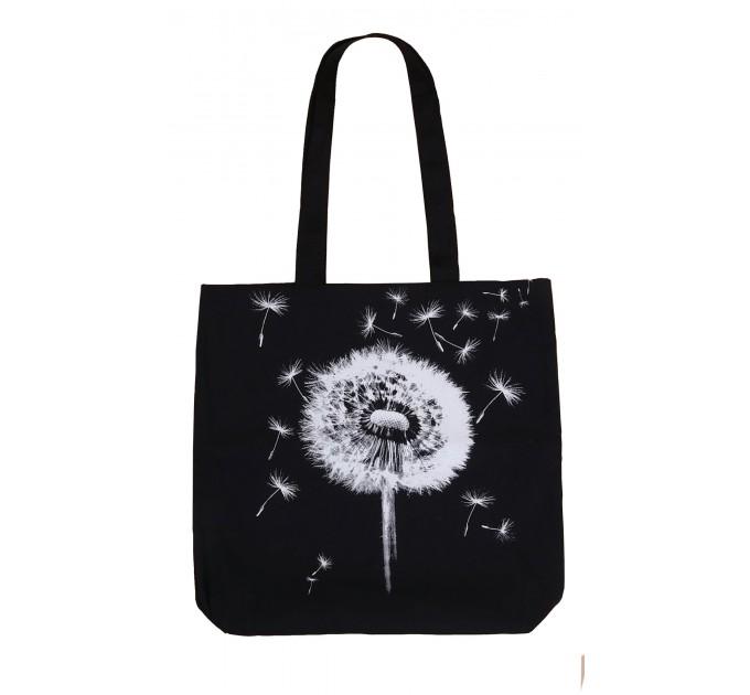 Сумка-шоппер черная цветок
