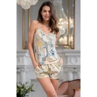 Шелковая пижама женская с шортами LUCIANNA 3532